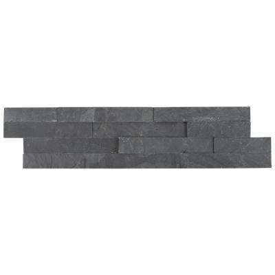 Premium Black Splitface Ledger Panel 6 in. x 24 in. Natural Slate Wall Tile (10 cases / 80 sq. ft. / pallet)