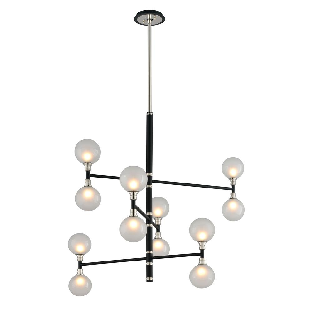 Andromeda 12-Light Carbide Black and Polished Nickel Pendant