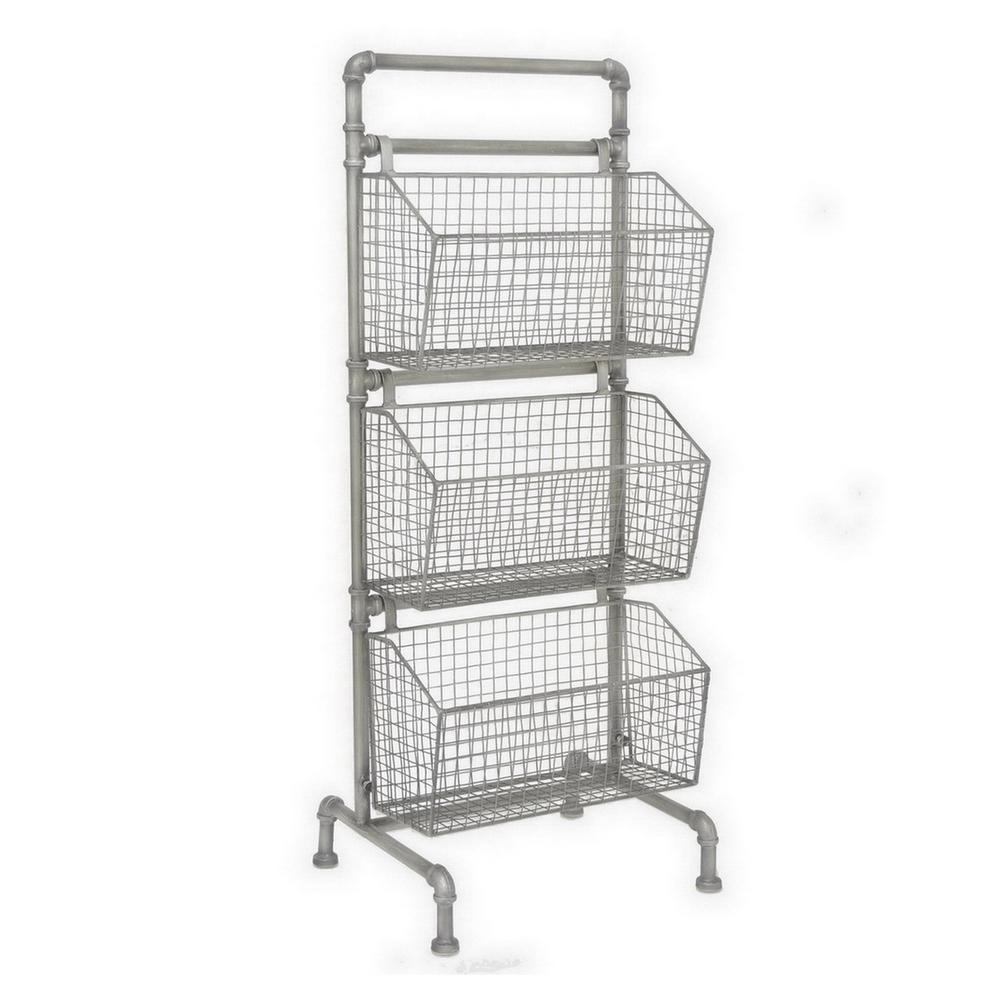 THREE HANDS 13.5 in. x 15.5 in. Storage Rack in Silver
