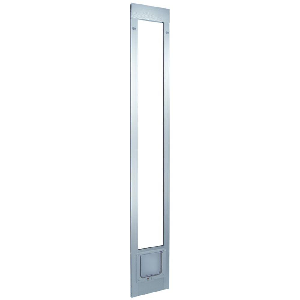 Ideal Pet 6.25 in. x 6.25 in. Small Cat Flap Aluminum Pet Patio Door Fits 93.75 in. to 96.5 in. Tall Aluminum Slider-DISCONTINUED