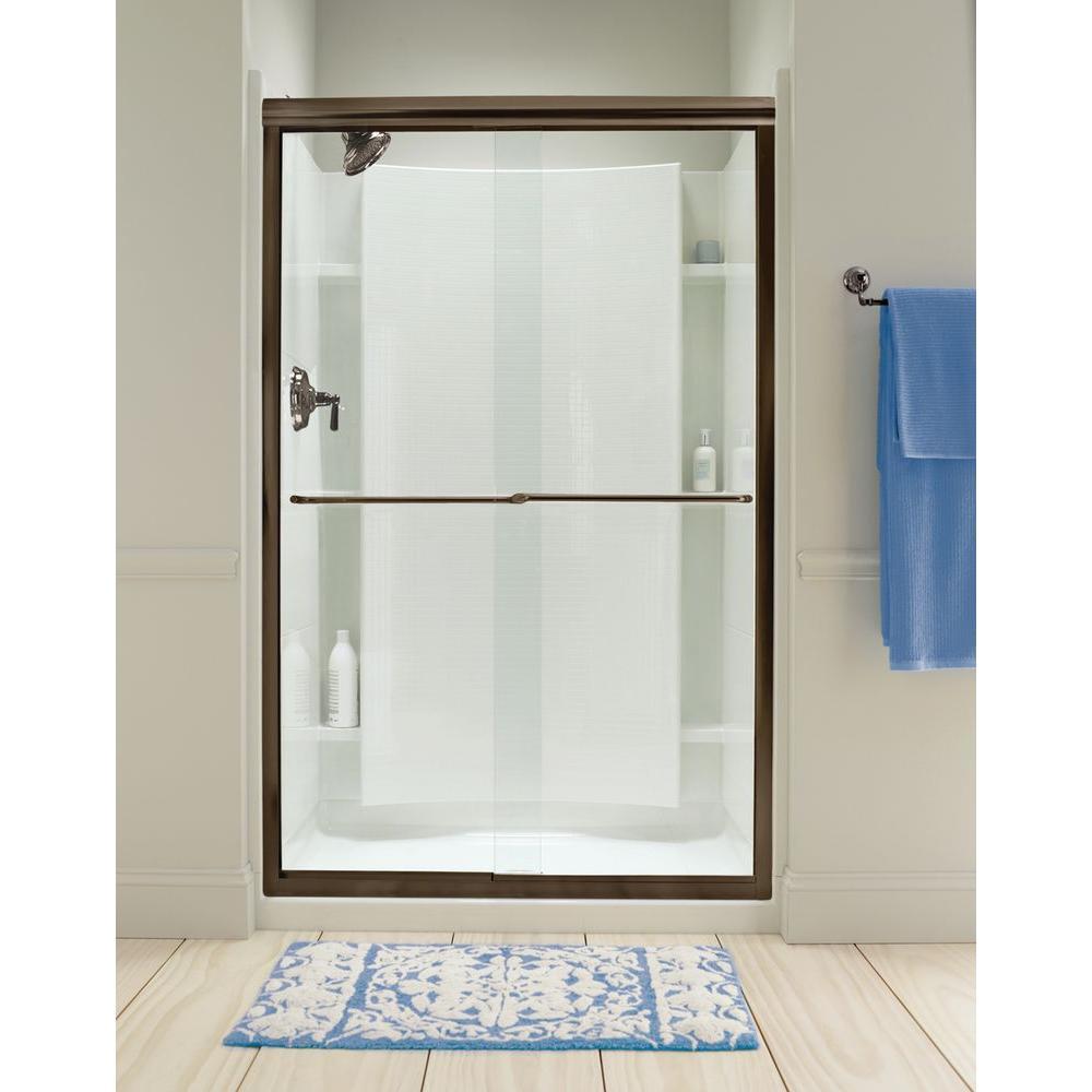 Finesse 47-5/8 in. x 70-1/16 in. Semi-Frameless Sliding Shower Door in Deep Bronze with Handle