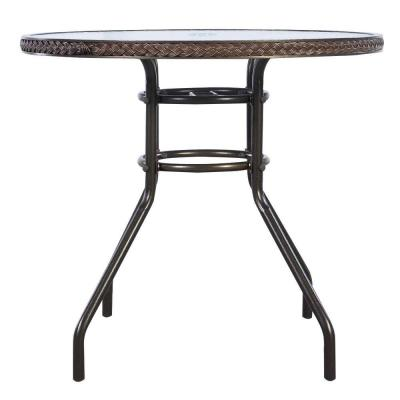 Brown Steel Patio Outdoor Round Coffee Table with Tempered Glass