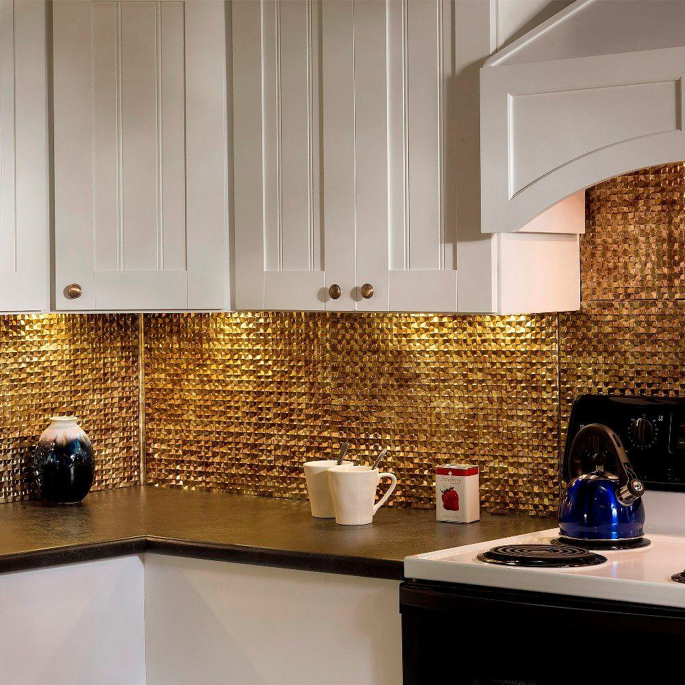 Fasade 24 in. x 18 in. Terrain PVC Decorative Tile Backsplash in Bermuda Bronze