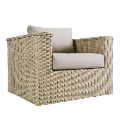 Mezzo 34 in. 2-Piece All-Weather Wicker Patio Seating Set in Taupe with Beige Cushions