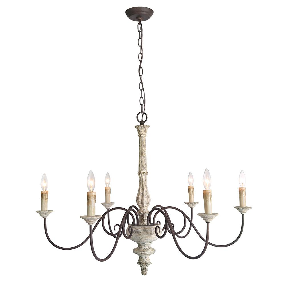 Lnc 6 Light Gray Shabby Chic French Country Chandelier
