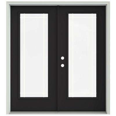 72 in. x 80 in. Chestnut Bronze Painted Steel Right-Hand Inswing 9 Lite Glass Stationary/Active Patio Door