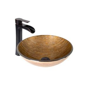 VIGO Vessel Sink in Amber Sunset and Niko Faucet Set in Antique Rubbed Bronze by VIGO