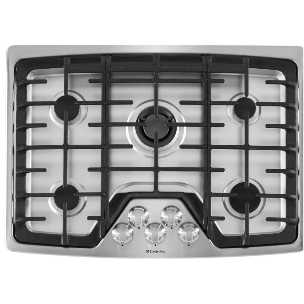 5 Burner Gas Cooktops: Electrolux 30 In. Deep Recessed Gas Cooktop In Stainless