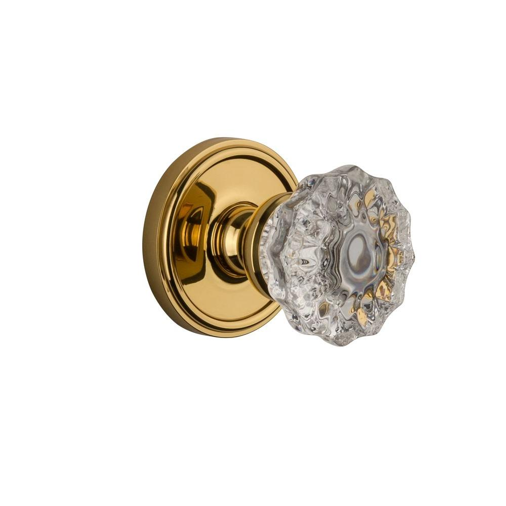 Grandeur Georgetown Rosette Polished Brass with Privacy Versailles Crystal Knob