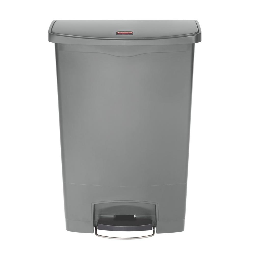 Slim Jim Step-On 24 Gal. Gray Plastic Front Step Trash Can