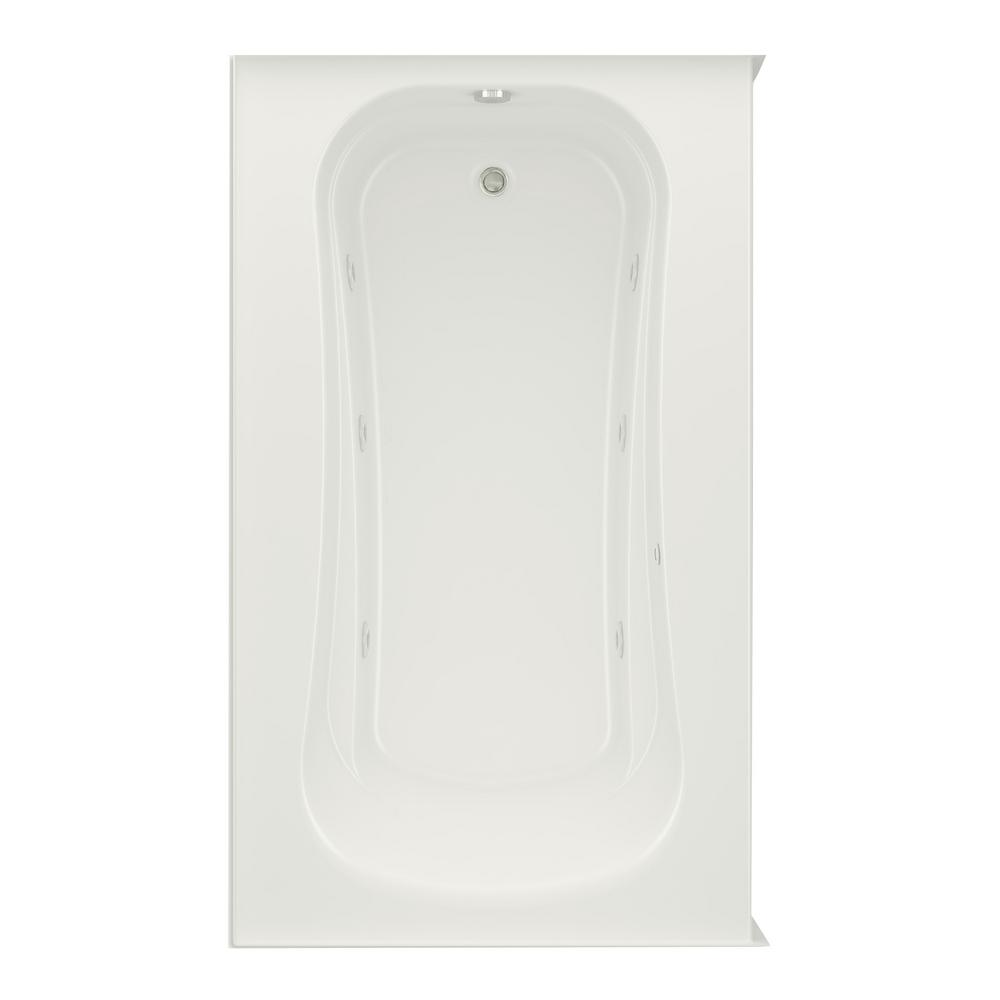 Aquatic Cariani 6 ft. Right Drain Whirlpool Bath Tub in Biscuit