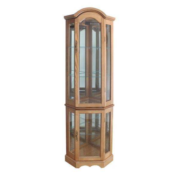 Oak 5 Sided Lighted Curio Cabinet