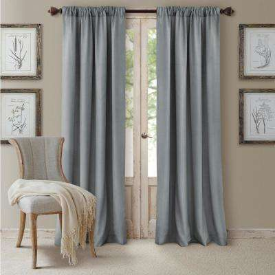 Blackout Cachet 52 in. W x 95 in. L Blackout Window Curtain Panel Blue