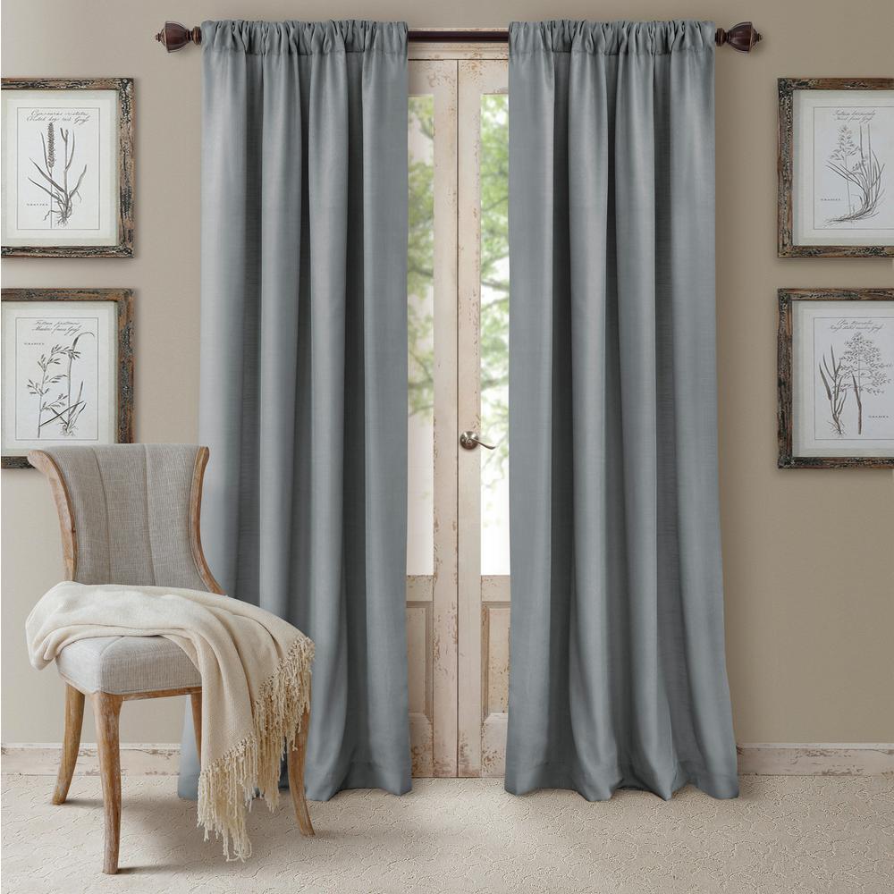 Blackout Cachet 52 in. W x 108 in. L Blackout Window Curtain Panel Blue
