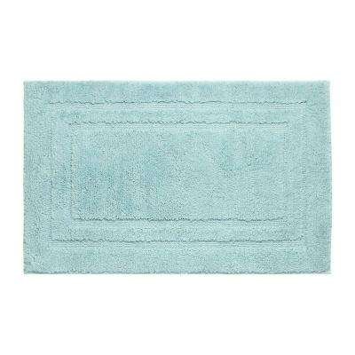 Double Border Aqua 21 in. x 34 in. Bath Mat