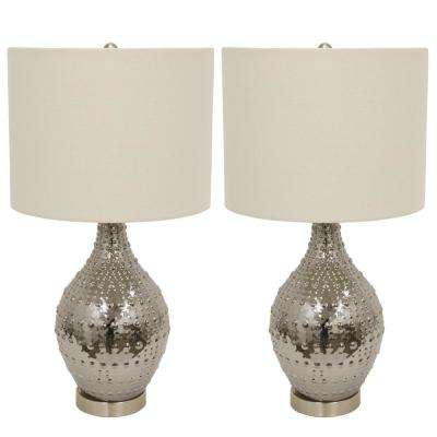 Luster Glass 24.5 in. Silver Table Lamps with Shade (Set of 2)