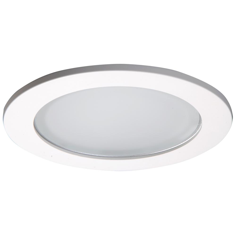 White Recessed Ceiling Light Shower Trim With Frosted Lens