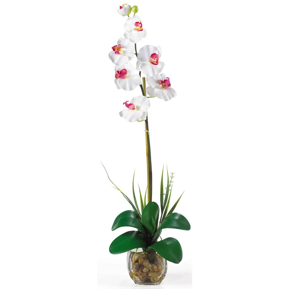 27 in. Single Phalaenopsis Liquid Illusion Silk Flower Arrangement in White