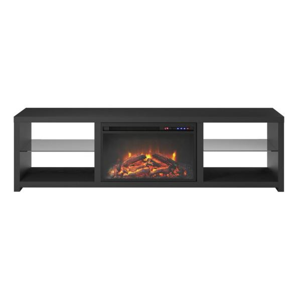 Ameriwood Warwick 70 in. Black TV Stand with Fireplace