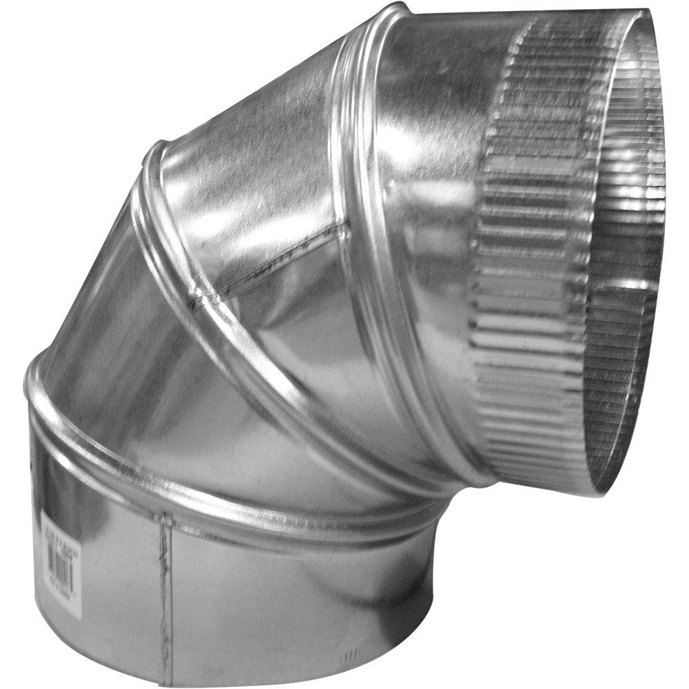 Duct Elbow 6-in x 6-in Galvanized Steel Round Adjustable from 0 to 90° Turns Run