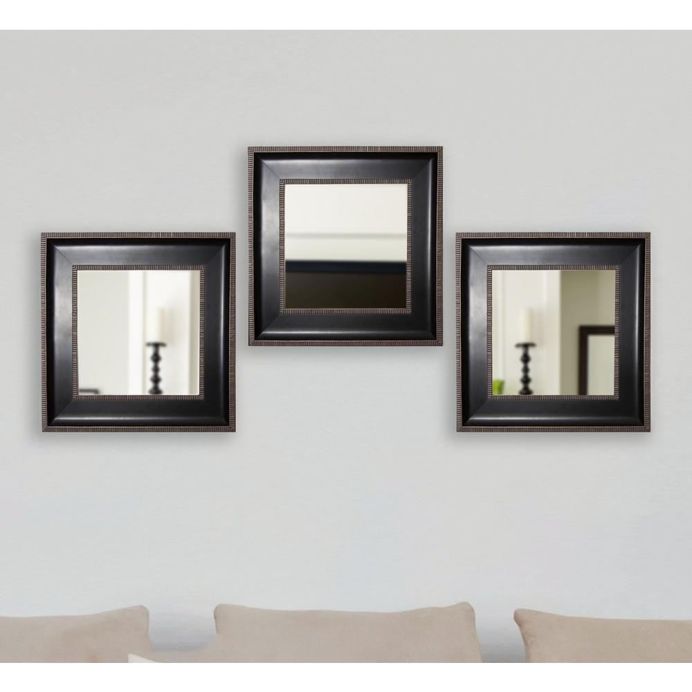 Black with silver caged trim square wall mirrors set of 3 s008ms 3 the home depot