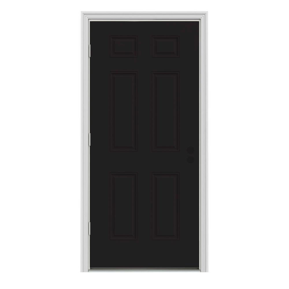 Jeld Wen 32 In X 80 In 6 Panel Black Painted Steel Prehung Right Hand Outswing Front Door W
