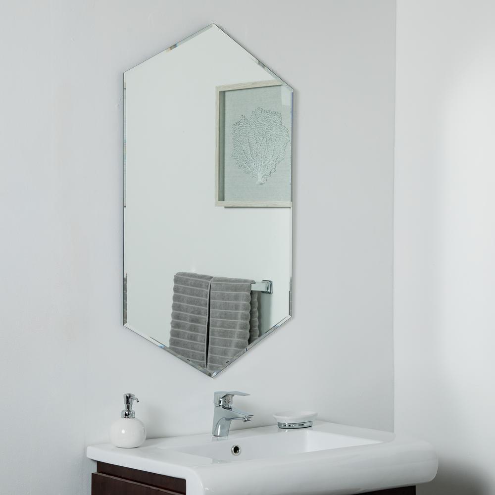 Decor 24 in. W x 40 in. H Frameless Hexagon Beveled Edge Bathroom Vanity Mirror in Silver