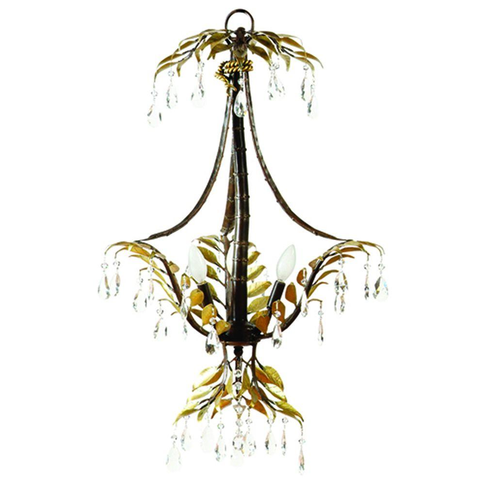 Yosemite Home Decor New Plantation Collection 3-Light Maple with Oxido Highlight Hanging Chandelier with Faceted Crystals