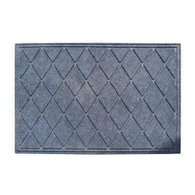A1HC Diamond Dark Grey 24 in. x 36 in. Eco-Poly Scraper Mats with Anti-Slip Fabric Finish and Tire Crumb Backing