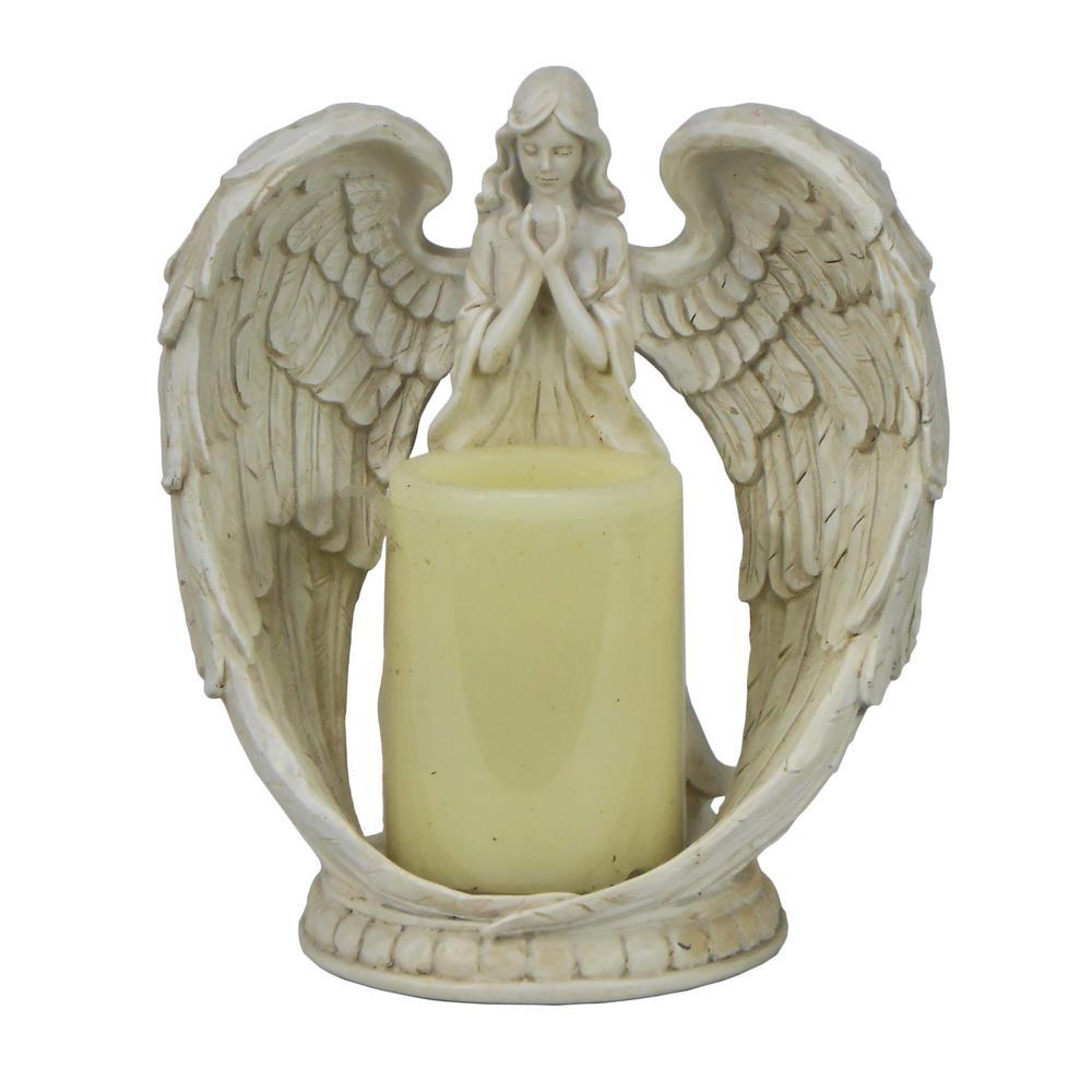White Angel Flameless Candleholder Statue
