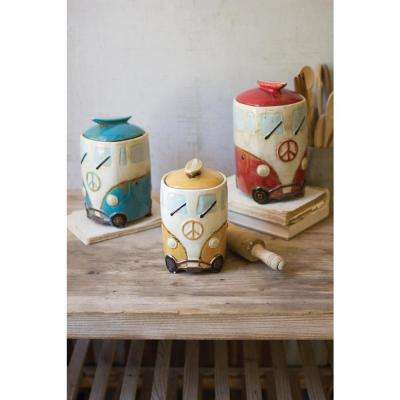 6-Piece Ceramic Van Canister Set with Surfboard Handles