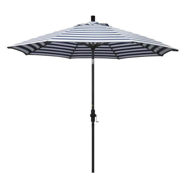9 ft. Aluminum Market Collar Tilt - Matted Black Patio Umbrella in Navy White Cabana Stripe Olefin
