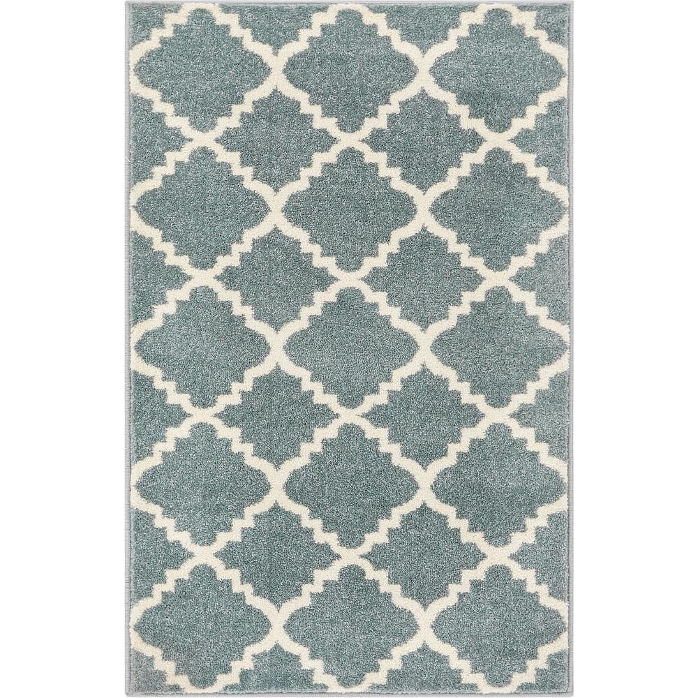 Well Woven Sydney Lulu S Lattice Trellis Light Blue 2 Ft X 4 Modern Area Rug