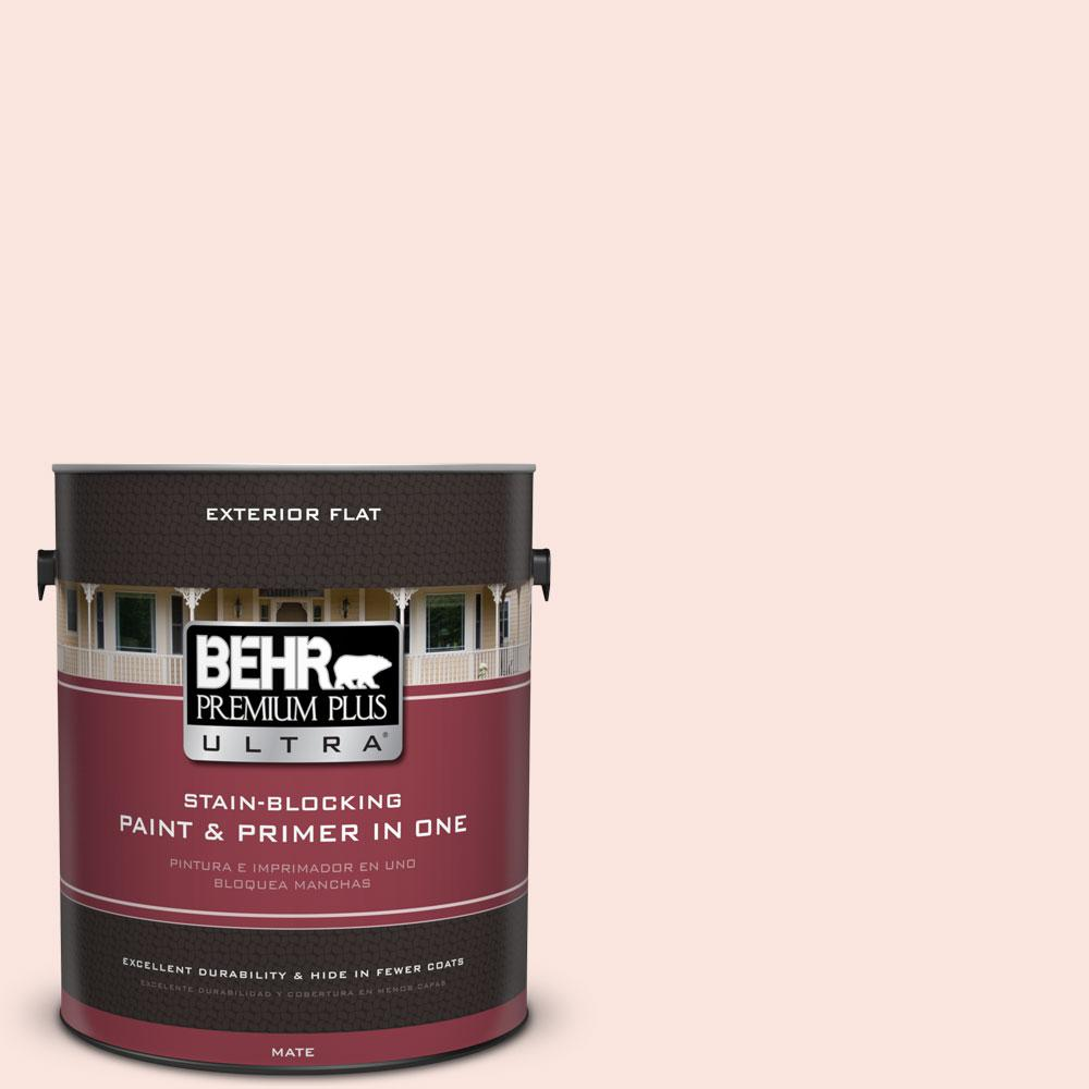 BEHR Premium Plus Ultra 1-gal. #180A-1 Cloud Pink Flat Exterior Paint