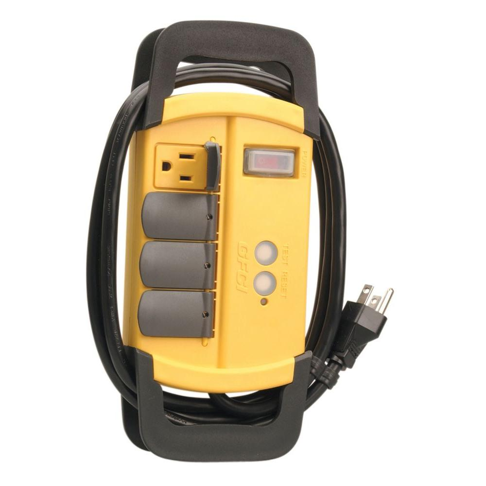 Woods GFCI 4-Outlet Workshop Power Block with Hinged Safety Covers 6 ft. Power Cord - Yellow
