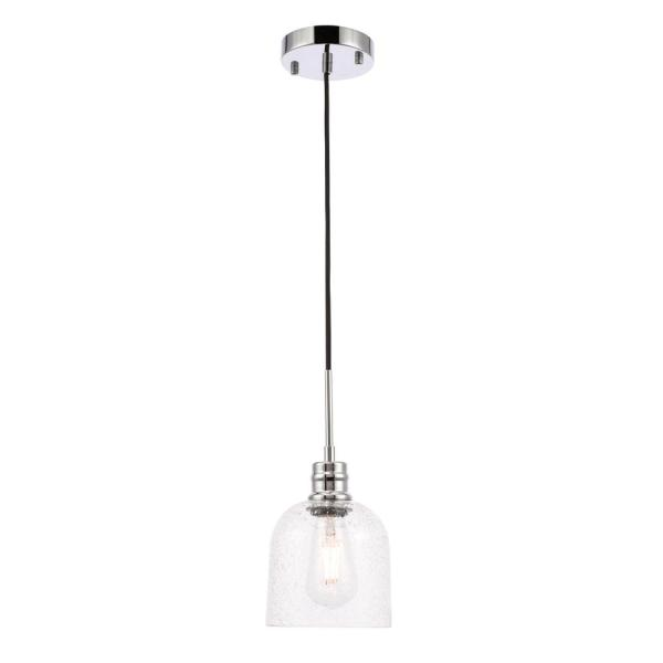 Timeless Home Gabe 1-Light Pendant in Chrome with 6 in. W x 6 in. H Seeded Glass Shade