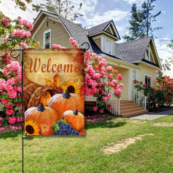 Anley 18 In X 12 5 In Garden Flag Pumpkin In Cornucopia Decorative Autumn Welcome Garden Flags Double Sided A Flag Garden Pumpking The Home Depot