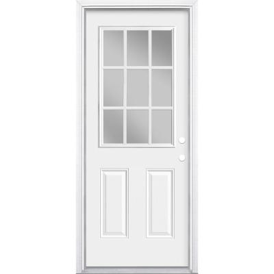 32 in. x 80 in. Premium 9 Lite Primed White Left Hand Inswing Steel Prehung Front Exterior Door with Brickmold