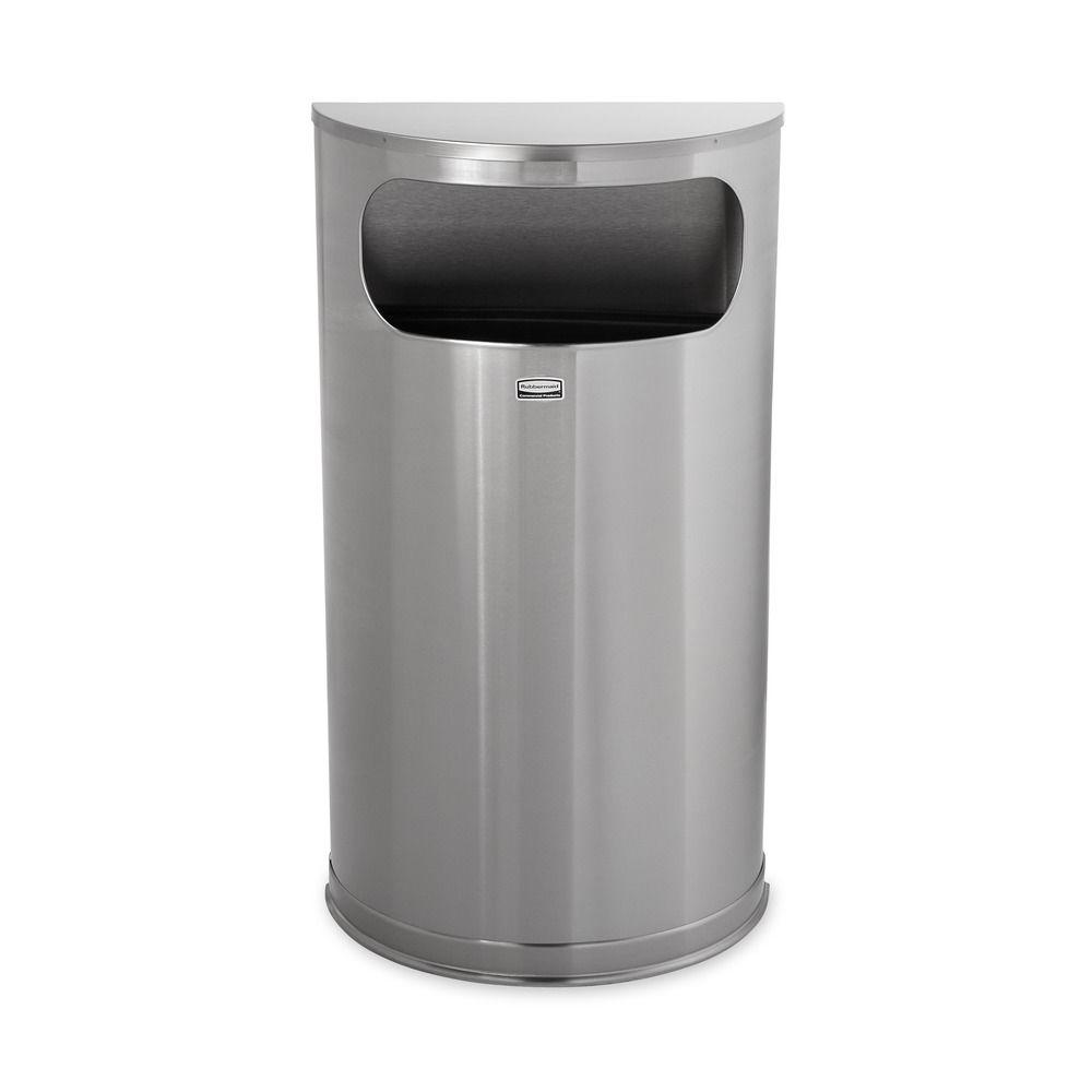 9 Gal. Satin Stainless Steel Half-Round Open Side Fire-Safe Trash Can