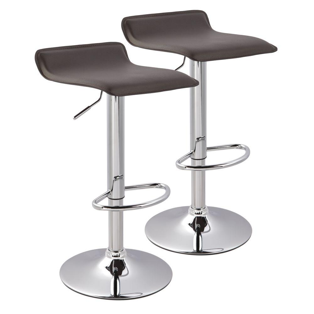 Worldwide Homefurnishings 25 in. Adjustable Faux Leather Chrome Metal Bar Stool in Brown (Set of 2)