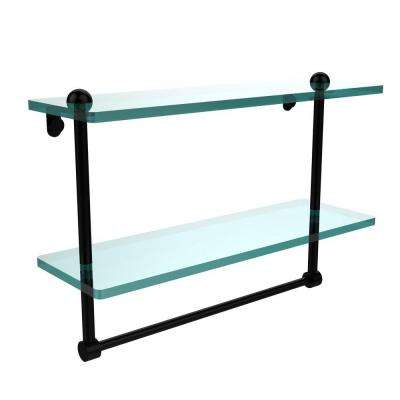 16 in. L  x 12 in. H  x 5 in. W 2-Tier Clear Glass Bathroom Shelf with Towel Bar in Matte Black