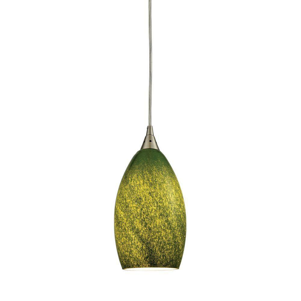 An Lighting Earth 1 Light Satin Nickel And Gr Green Gl Led Pendant