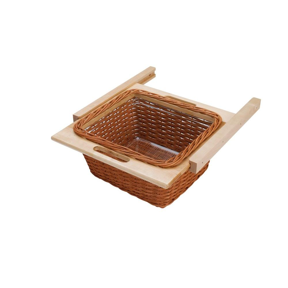 Rev-A-Shelf 18 in. Rattan Basket with Euro Rails and Clear Plastic Liner-DISCONTINUED