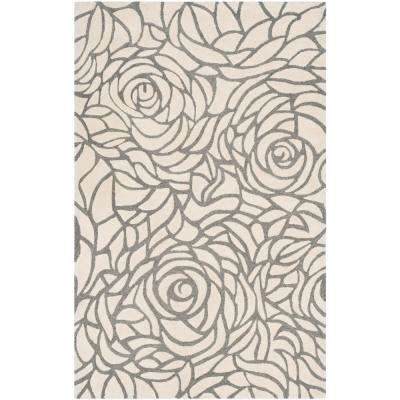 Casablanca Ivory/Gray 5 ft. x 8 ft. Area Rug