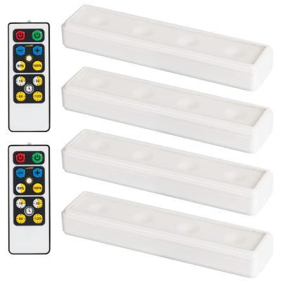LED White Wireless Under Cabinet Light with 2 Remotes (4-Pack)