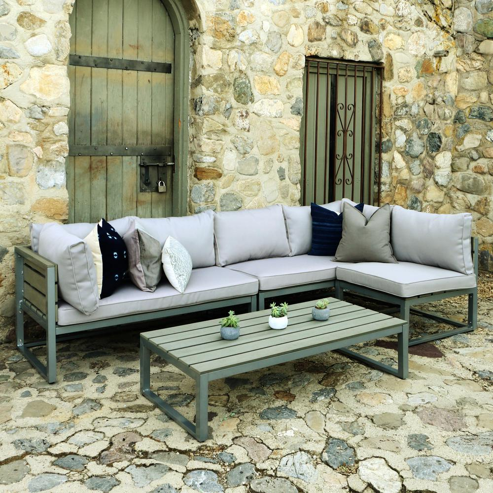 Walker Edison Grey Metal Conversation Set Grey Cushions Coffee Table