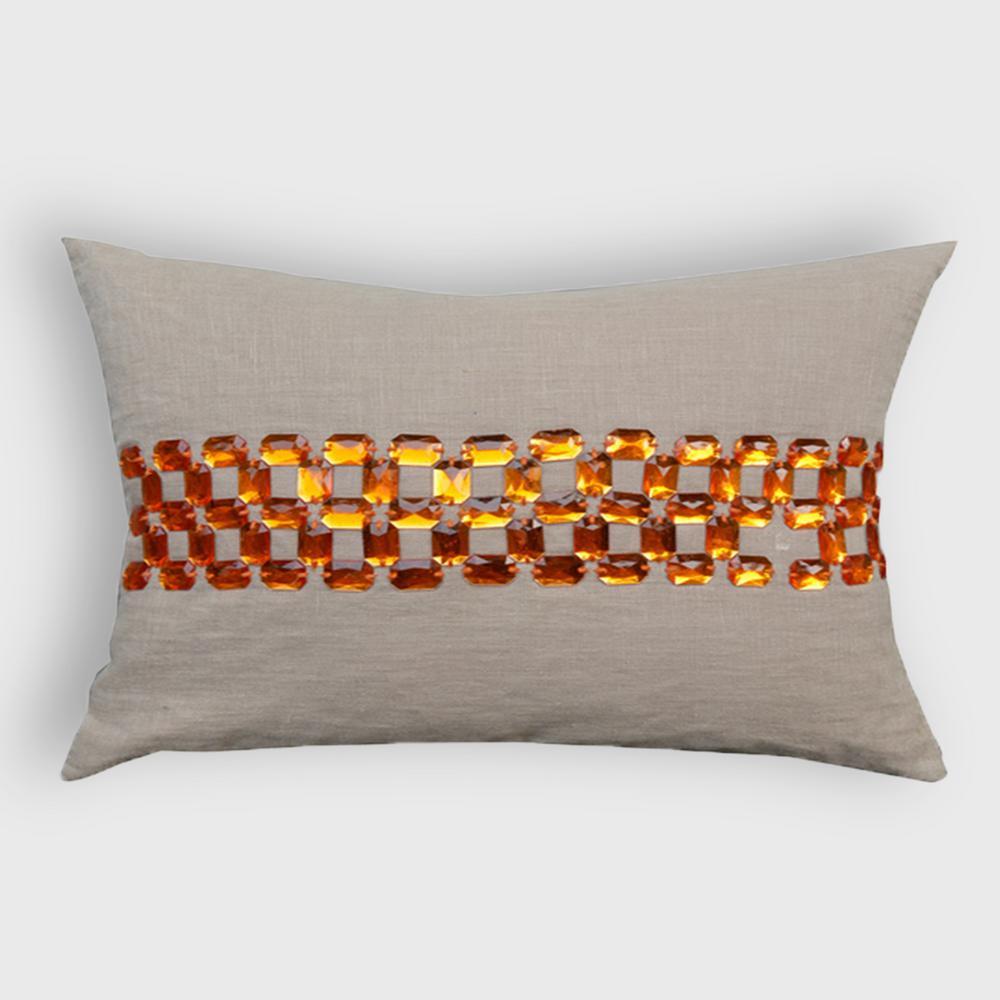 A1HC Gem Opulence Beige and Orange 100% Cotton Decorative Pillow RCC-1270