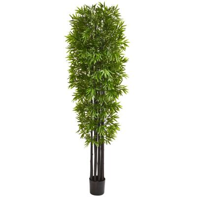 Indoor/Outdoor 7 ft. Bamboo Artificial Tree with Black Trunks UV Resistant