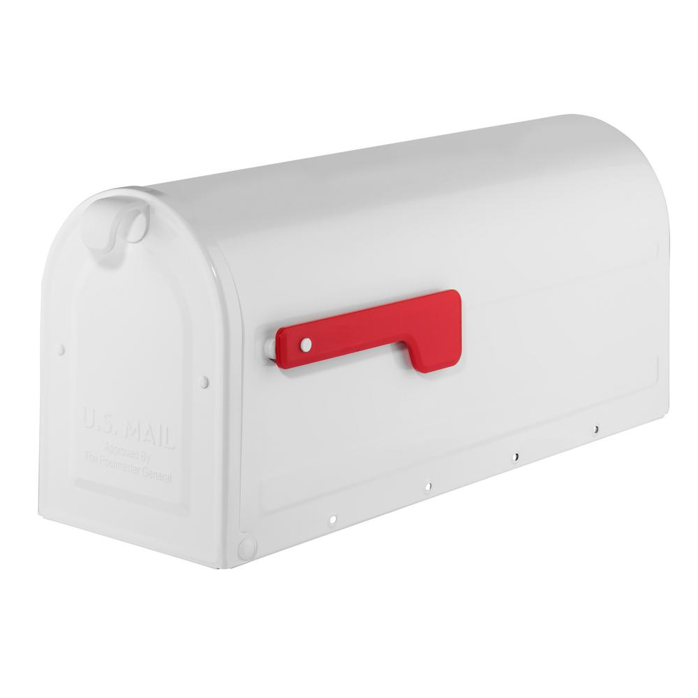 Architectural Mailboxes MB1 White Post Mount Mailbox with Red Flag