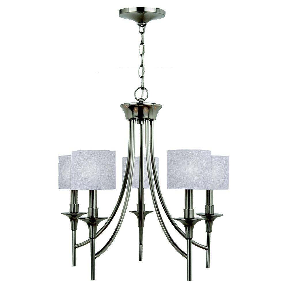 Sea Gull Lighting Stirling 5-Light Brushed Nickel Single-Tier Chandelier with Linen Shades
